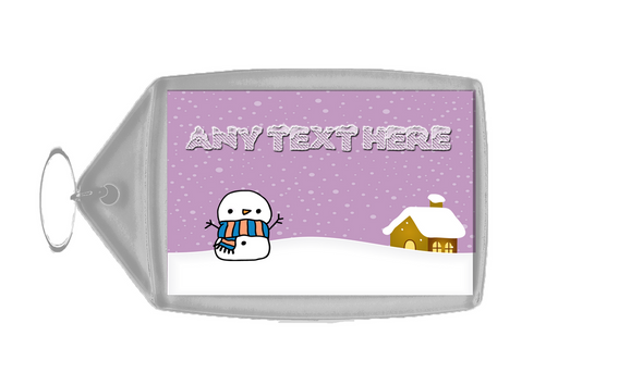 Snowman Snowy Scene Christmas Personalised Keyring