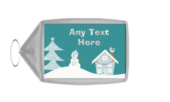 Snowman Winter Scene Christmas Personalised Keyring