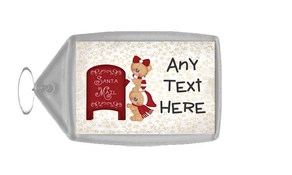 Teddies Mailing Christmas Personalised Keyring