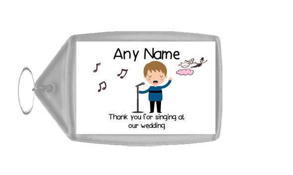 Thank You For Singing At Our Wedding Male  Personalised Keyring