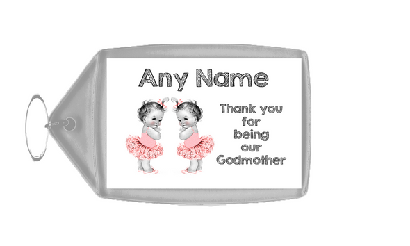 Baby Twin Girls Godmother Thank You  Personalised Keyring