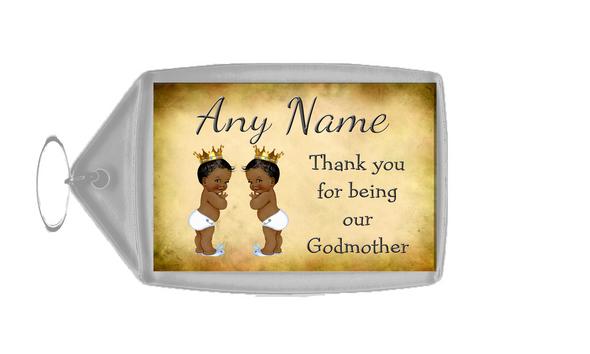 Vintage Baby Twin Black Boys Godmother Thank You  Personalised Keyring