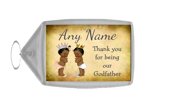 Vintage Baby Twin Black Girl & Boy Godfather Thank You  Personalised Keyring