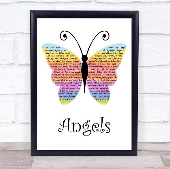 Robbie Williams Angels Rainbow Butterfly Song Lyric Quote Music Print