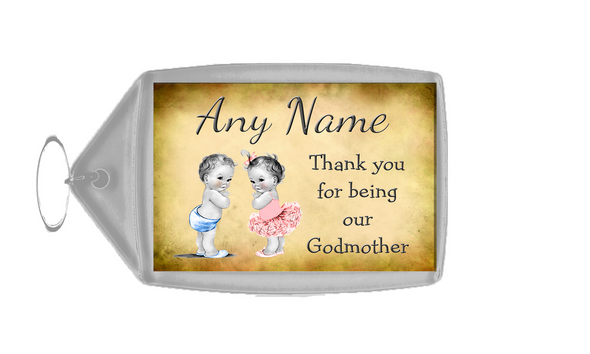 Vintage Baby Twin Boy & Girl Godmother Thank You  Personalised Keyring