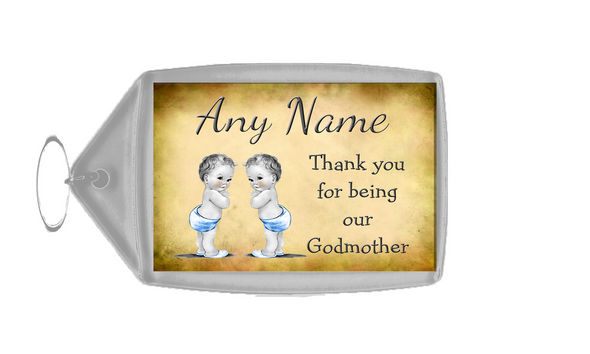 Vintage Baby Twin Boys Godmother Thank You  Personalised Keyring