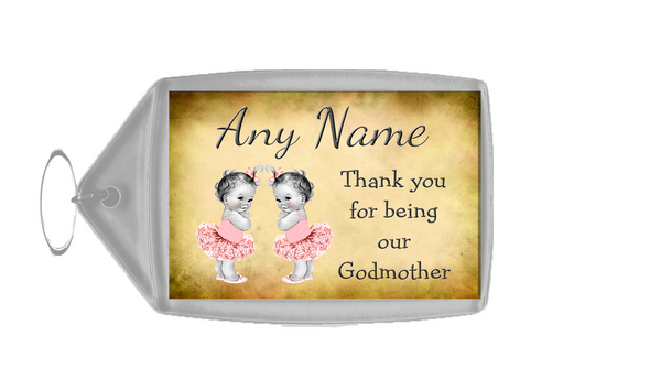 Vintage Baby Twin Girls Godmother Thank You  Personalised Keyring