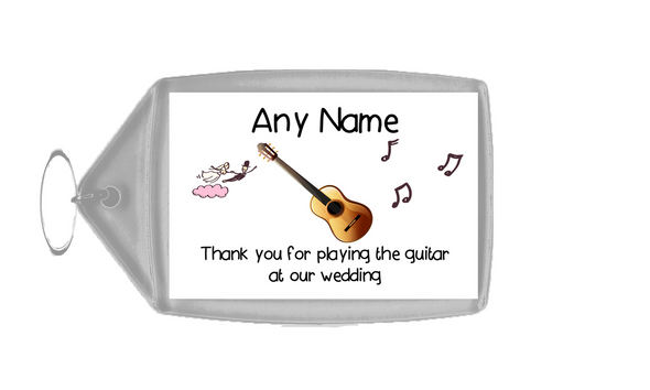 Thank You For Playing The Guitar At Our Wedding  Personalised Keyring
