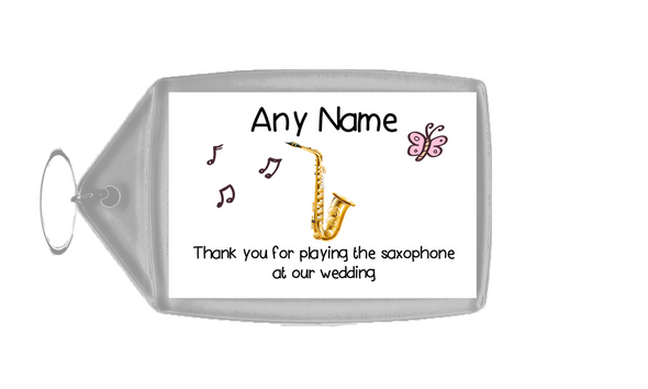 Thank You For Playing The Saxophone At Our Wedding  Personalised Keyring