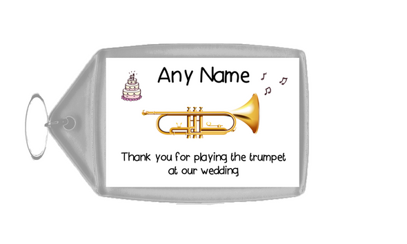 Thank You For Playing The Trumpet At Our Wedding  Personalised Keyring