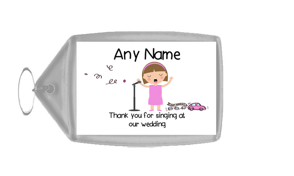 Thank You For Singing At Our Wedding Female  Personalised Keyring