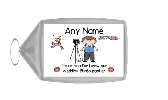 Thank You For Being Our Wedding Photographer Male  Personalised Keyring