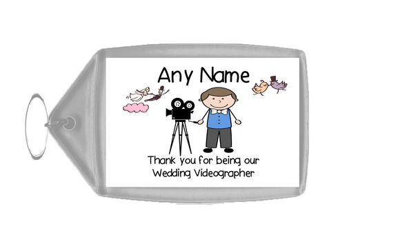 Thank You For Being Our Wedding Videographer Male  Personalised Keyring