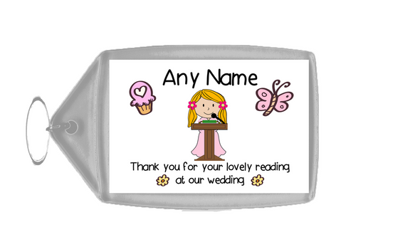Thank You For Doing A Reading At Our Wedding Girl  Personalised Keyring