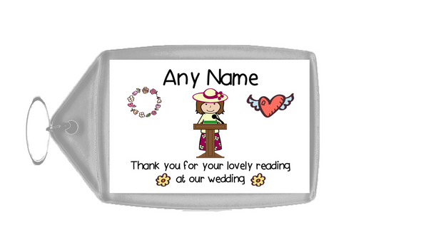Thank You For Doing A Reading At Our Wedding Woman  Personalised Keyring