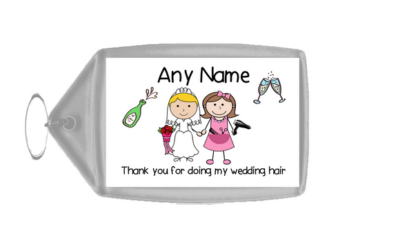 Thank You For Doing My Wedding Hair  Personalised Keyring