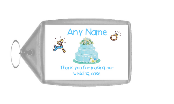 Thank You For Making Our Wedding Cake Blue  Personalised Keyring