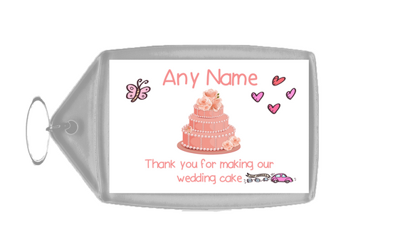 Thank You For Making Our Wedding Cake Coral  Personalised Keyring
