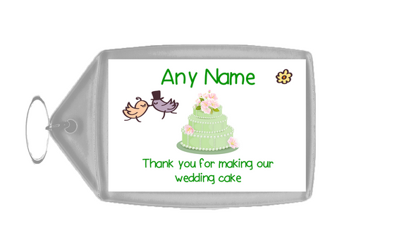 Thank You For Making Our Wedding Cake Green  Personalised Keyring