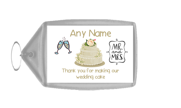 Thank You For Making Our Wedding Cake Ivory  Personalised Keyring