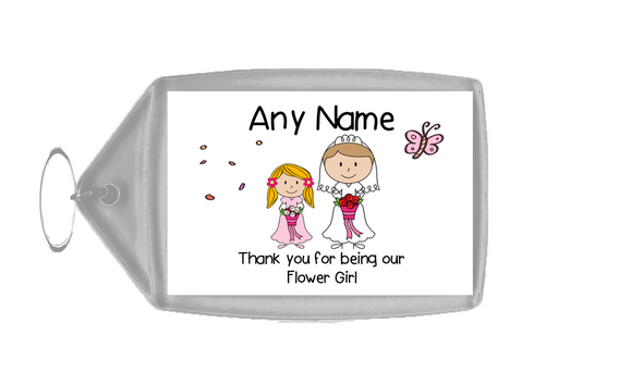 Thank You Flower Girl  Personalised Keyring