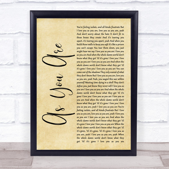 As You Are Rustic Script Song Lyric Quote Music Print