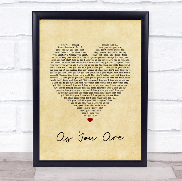 As You Are Vintage Heart Song Lyric Quote Music Print