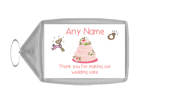 Thank You For Making Our Wedding Cake Pink  Personalised Keyring
