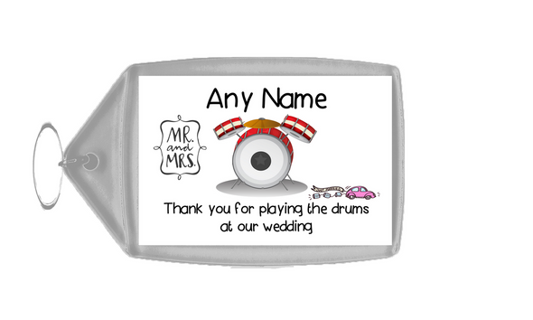 Thank You For Playing The Drums At Our Wedding  Personalised Keyring