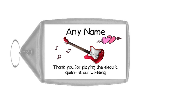 Thank You For Playing The Electric Guitar At Our Wedding  Personalised Keyring