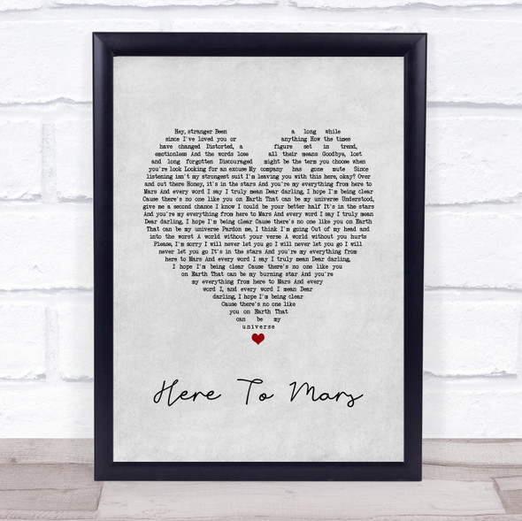 Coheed And Cambria Here To Mars Grey Heart Song Lyric Quote Music Print
