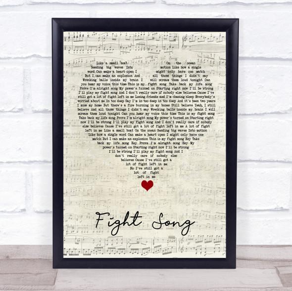 Rachel Platten Fight Song Script Heart Song Lyric Quote Music Print