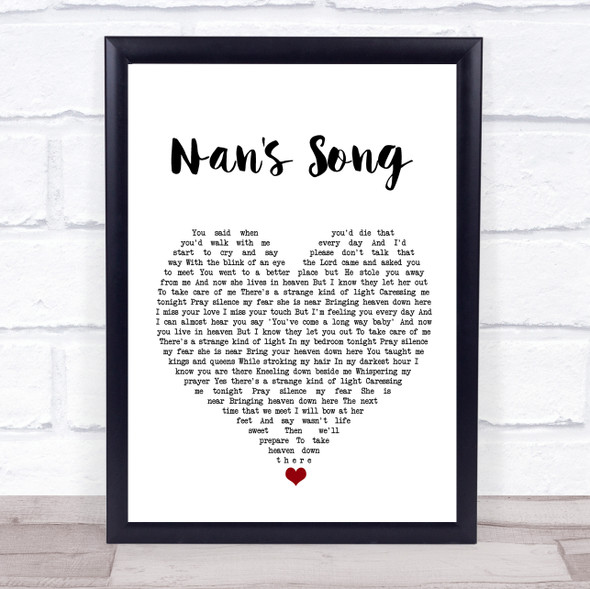 Robbie Williams Nan's Song White Heart Song Lyric Quote Music Print