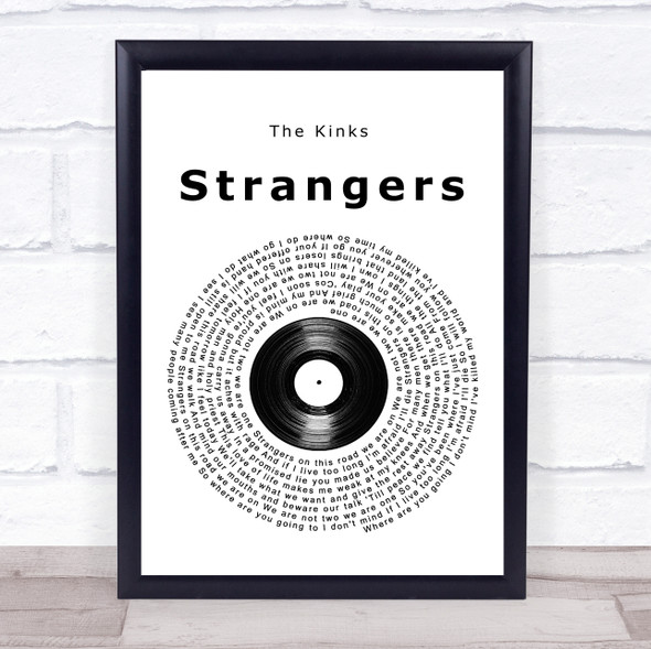 The Kinks Strangers Vinyl Record Song Lyric Quote Music Print