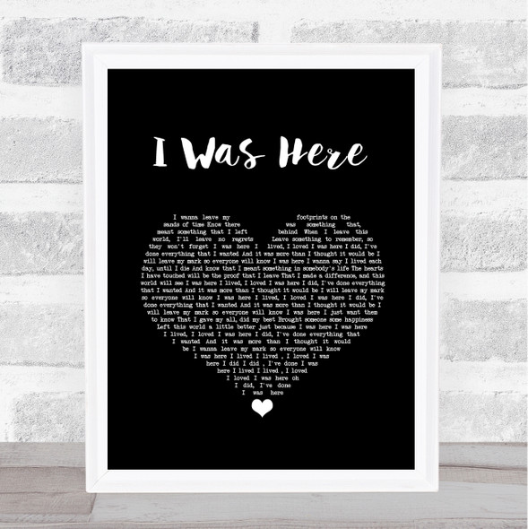 Beyonce I Was Here Black Heart Song Lyric Quote Music Print
