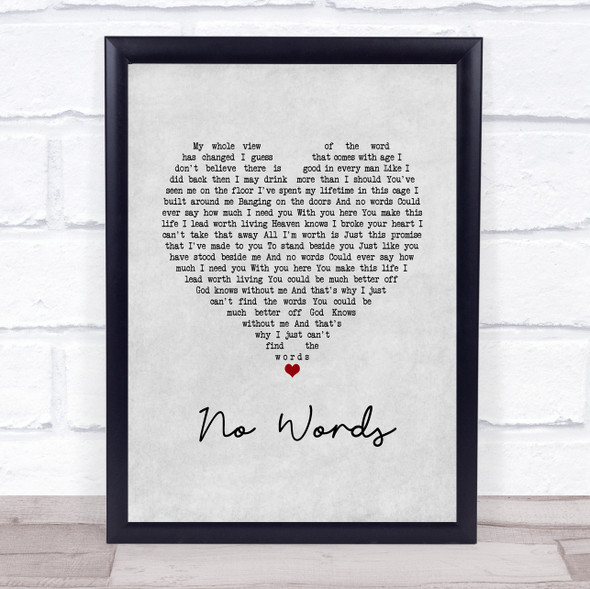 Cody Jinks No Words Grey Heart Song Lyric Quote Music Print