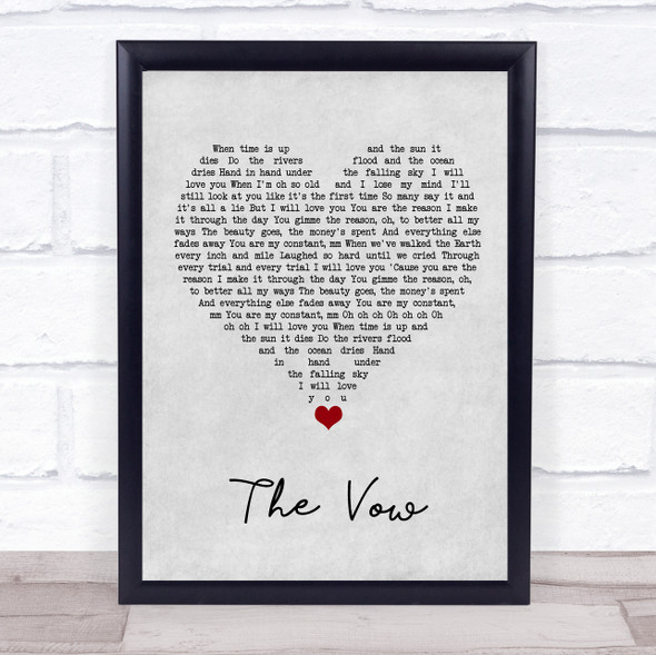 Ruth-Anne Cunningham The Vow Grey Heart Song Lyric Quote Music Print