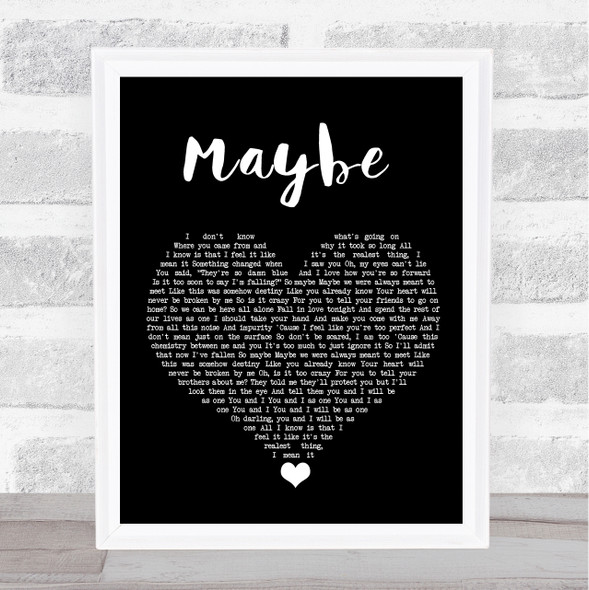 James Arthur Maybe Black Heart Song Lyric Quote Music Print