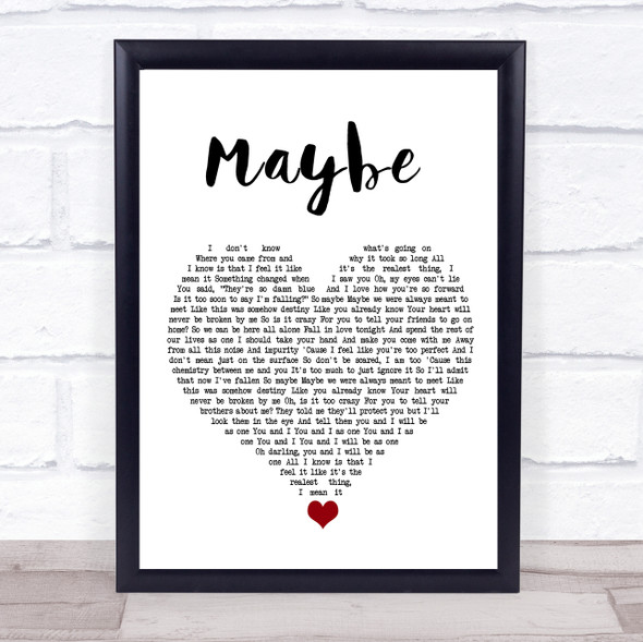 James Arthur Maybe White Heart Song Lyric Quote Music Print