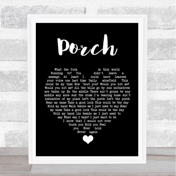 Pearl Jam Porch Black Heart Song Lyric Quote Music Print
