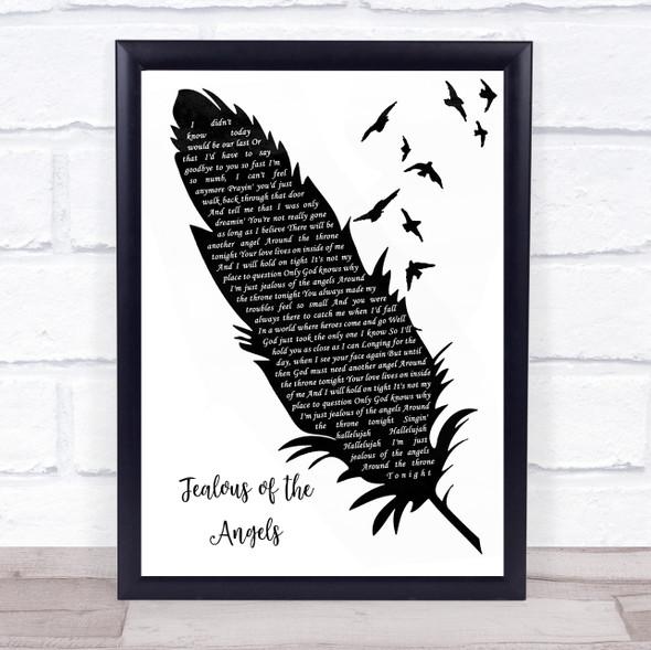 Jenn bostic Jealous of the Angels Black & White Feather & Birds Song Lyric Wall Art Print