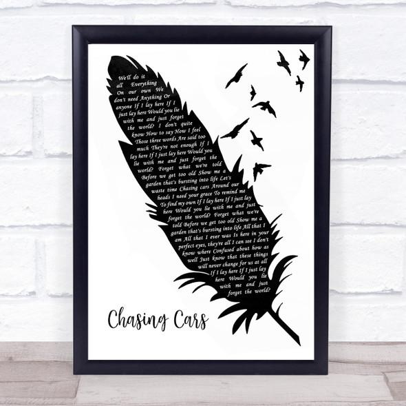 Snow Patrol Chasing Cars Black & White Feather & Birds Song Lyric Wall Art Print