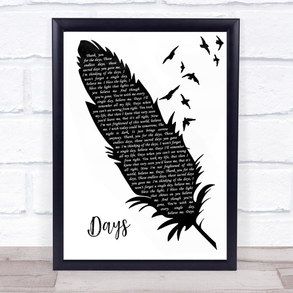 The Kinks Days Black & White Feather & Birds Song Lyric Wall Art Print