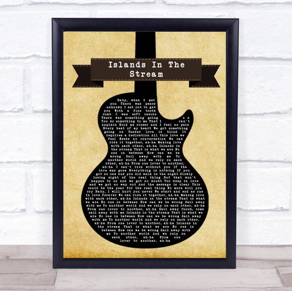 Kenny Rogers & Dolly Parton Islands In The Stream Black Guitar Song Lyric Wall Art Print