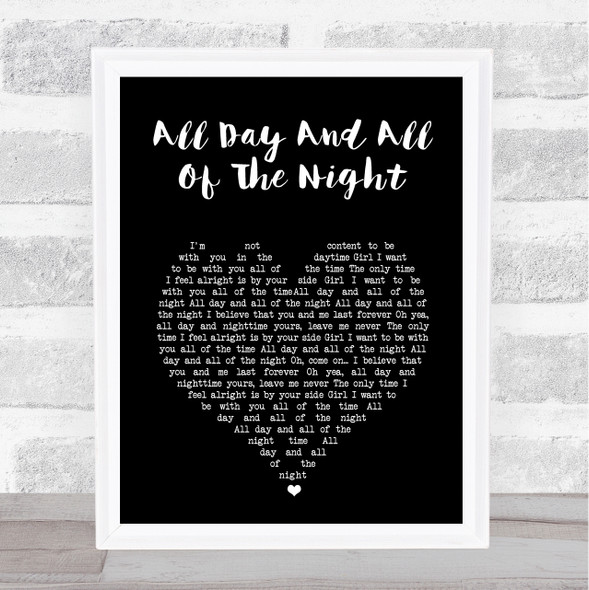 The Kinks All Day And All Of The Night Black Heart Song Lyric Wall Art Print