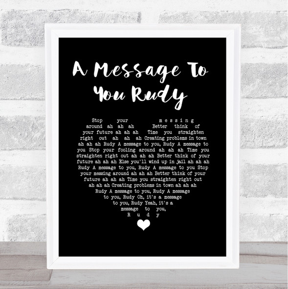 The Specials A Message To You Rudy Black Heart Song Lyric Wall Art Print