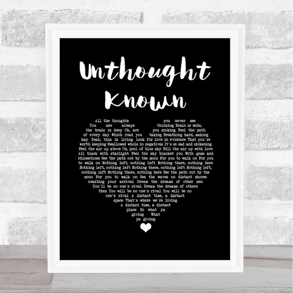 Pearl Jam Unthought Known Black Heart Song Lyric Wall Art Print
