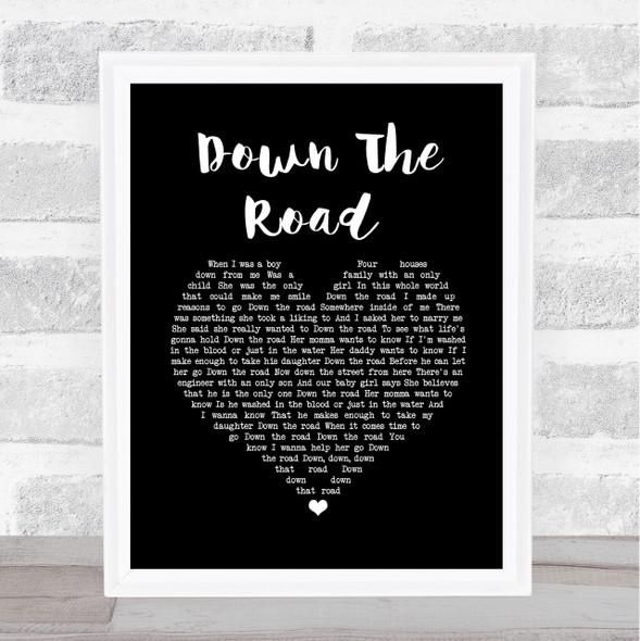 Kenny Chesney Down The Road Black Heart Song Lyric Wall Art Print