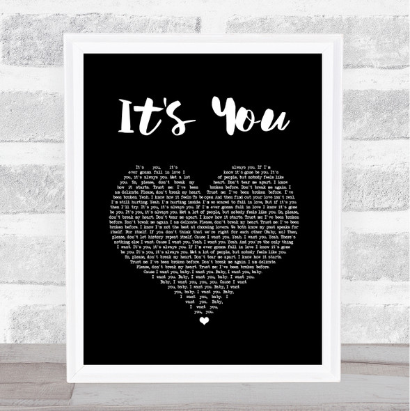 Ali Gatie It's You Black Heart Song Lyric Wall Art Print
