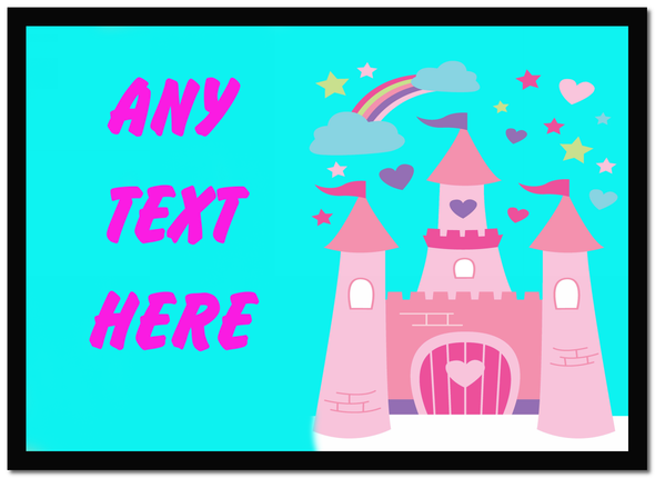Pink Princess Castle Personalised Dinner Table Placemat
